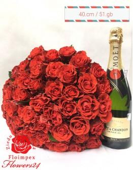 Red roses 40cm