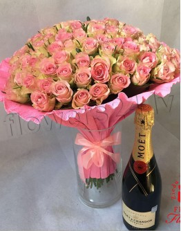 Pink roses 40cm