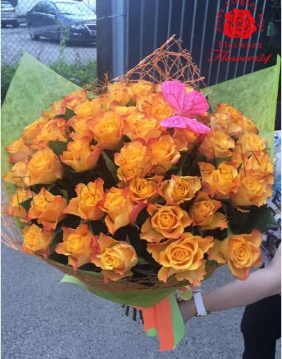 Orange roses 50cm