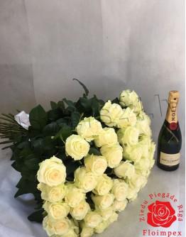 White roses 70cm
