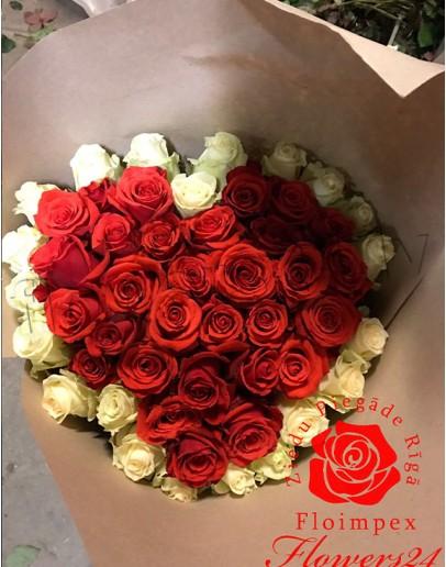 "51 rose 80cm ""Heartshape"""